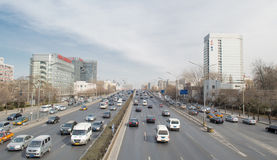 Urban Transport in beijing. The five rings at the crossroads of Beijing in China,This photo was taken on March 9, 2014 Royalty Free Stock Photos