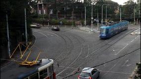 Urban transport in the European city of Prague. Urban transport, Prague - Badeniho street, time lapse stock video