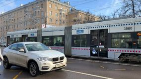 Urban transport. Moscow city. Tram stock footage