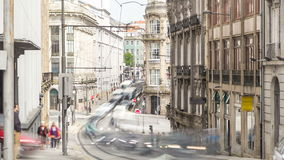 Urban transport in the old street. Urban transport  trafficin the old street in the old part of the city timelapse. The historic city center of Porto declared stock video footage