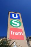 Urban transport station sign Royalty Free Stock Photos
