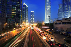 Urban transport traffic light trails. Shanghai Urban transport traffic rainbow  light trails Stock Photography