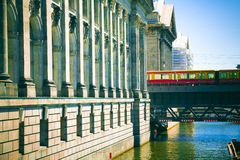 Urban Transportation. By suspended train in Berlin Stock Photo