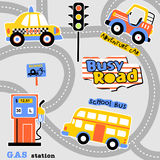 Busy road. Urban transportation on busy road, vector cartoon. EPS 10 vector illustration