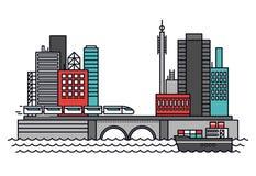 Urban transportation line style illustration Royalty Free Stock Image
