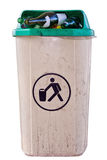 Urban trashcan full of bottles Royalty Free Stock Image