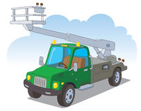 Urban truck with a hydraulic lift Stock Images
