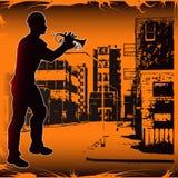 Urban Trumpeter Royalty Free Stock Photo