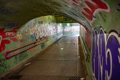 Urban tunnel in the city of Valladolid stock photography