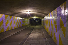 Urban Tunnel. A night-time view of an eerie urban underpass or tunnel Royalty Free Stock Photography