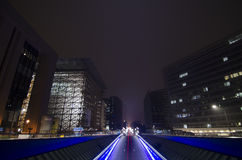 Urban tunnel and traffic at night in Brussels Stock Photography