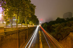 Urban tunnel and traffic at night in Brussels Stock Photos