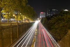 Urban tunnel and traffic at night in Brussels Stock Image