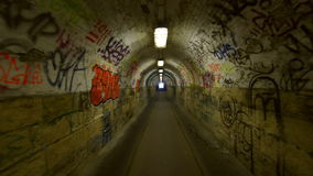 Urban underground tunnel with glidecam stock footage