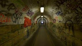 Urban underground tunnel with glidecam stock footage