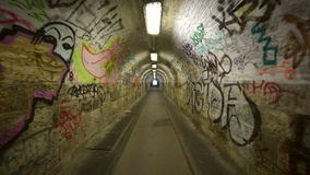 Urban underground tunnel with glidecam stock video footage