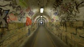 Urban underground tunnel with glidecam stock video