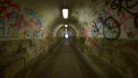 Urban underground tunnel with glidecam stock video footage