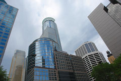 Urban Unity. A picture of united corporations in downtown Minneapolis stock image