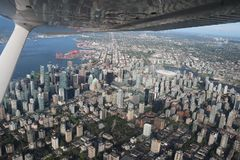 Urban Vancouver flight view cityscapes downtown. On the flight to discovery vancouver city downtown cityscapes stadium building global view of the city until stock image