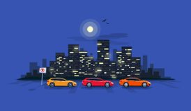 Parking Cars on the Road Street with Night City Skyline Backgrou stock illustration