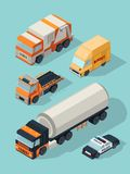 Urban vehicle isometric. Transportation city cars gas service fuel truck, trailer van bus vector 3d traffic pictures stock illustration