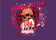 Urban victim. Skull and wings over the city Stock Photo