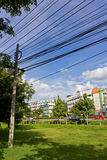 Urban View. Electric Wire and Post in the Urban City Stock Photography