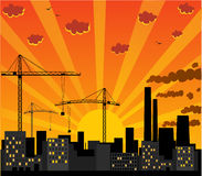 Urban view. With cranes and pipes Royalty Free Stock Photos