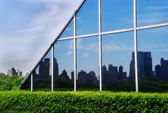 Urban view. Urban landscape in glass wall reflection in New York Stock Photography