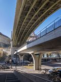 Urban view of a bridge in central Lausanne Royalty Free Stock Photos