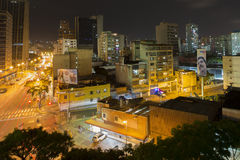 Urban View of Caracas at night with billboard of Maduro new pres Royalty Free Stock Photo