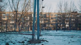 Urban view: Children`s swing after the USSR, cinematic shoot. 4k stock footage