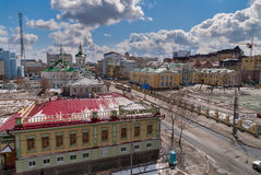 Urban view with church of Saviour in Tyumen,Russia Stock Photos