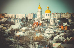 Urban view with churches Royalty Free Stock Image