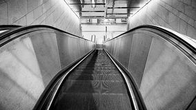 Urban view, empty escalator at night Stock Images