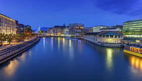 Urban view with famous fountain and Rhone river Stock Photo