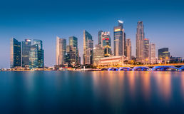 Urban view of the financial district in singapore at dusk Royalty Free Stock Photo