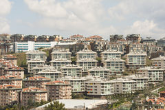 Urban view of housing development on hillside Stock Image