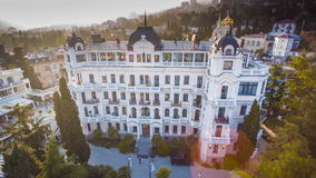 Urban View Of Luxury Hotel. YALTA, RUSSIA - NOVEMBER 2016: Aerial shot of the outdoor urban view of luxury hotel, house building and city construction concept stock video footage