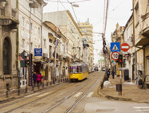 urban view of old city, Iasi Romania and vintage tram for transportation. Royalty Free Stock Photos