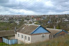 Urban view with private low houses. Elista, Kalmykia royalty free stock images