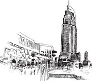 Urban view. Sketcy drawing  illustration with modern buildings Stock Image
