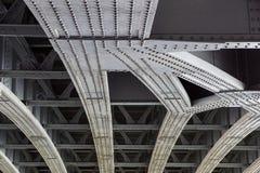 Free Urban View: Small Old Bridges Under Modern Automotive Metal Bridge Stock Photography - 95138262