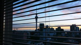 Urban view from a window of Auckland financial center skyline stock video