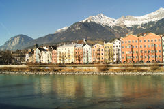 Urban views of the river. Near the mountains in the background Stock Photos