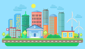 Urban and village landscape with buildings and skyscrapers. Cityscape vector illustration. Royalty Free Stock Images