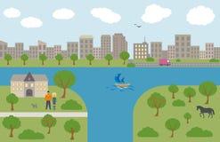Urban and village landscape. Vector flat illustrations Stock Photo
