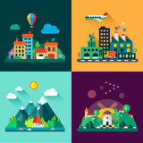 Urban and village landscapes. Color vector flat icon set and illustrations urban and village landscapes Royalty Free Stock Photo