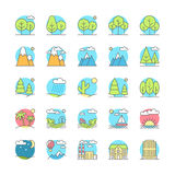 Urban, village landscapes flat icon set Royalty Free Stock Photography